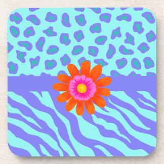 Lavender & Turquoise Zebra & Cheetah Orange Flower Beverage Coasters