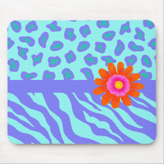 Lavender & Turquoise Zebra & Cheetah Orange Flower Mouse Pad