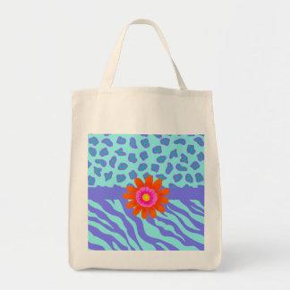Lavender & Turquoise Zebra & Cheetah Orange Flower Tote Bag
