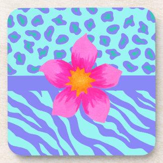 Lavender & Turquoise Zebra & Cheetah Pink Flower Beverage Coaster