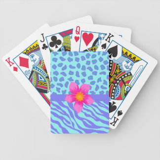 Lavender & Turquoise Zebra & Cheetah Pink Flower Bicycle Playing Cards