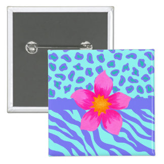 Lavender & Turquoise Zebra & Cheetah Pink Flower 2 Inch Square Button