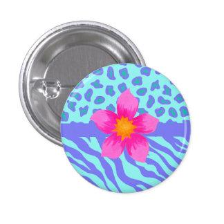 Lavender & Turquoise Zebra & Cheetah Pink Flower 1 Inch Round Button
