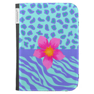 Lavender & Turquoise Zebra & Cheetah Pink Flower Cases For Kindle