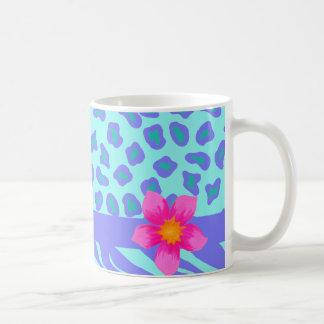 Lavender & Turquoise Zebra & Cheetah Pink Flower Classic White Coffee Mug