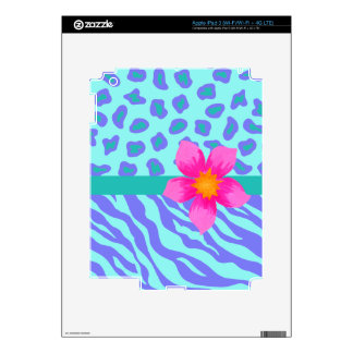 Lavender & Turquoise Zebra & Cheetah Pink Flower Decal For iPad 3