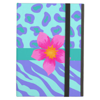 Lavender & Turquoise Zebra & Cheetah Pink Flower iPad Air Case