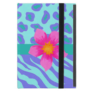 Lavender & Turquoise Zebra & Cheetah Pink Flower iPad Mini Cover