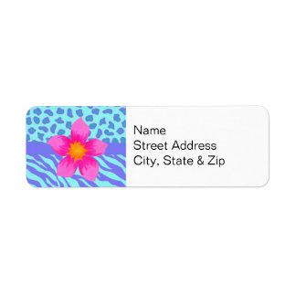 Lavender & Turquoise Zebra & Cheetah Pink Flower Label
