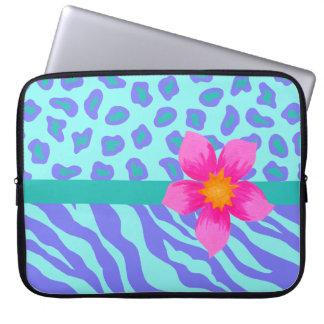 Lavender & Turquoise Zebra & Cheetah Pink Flower Laptop Sleeve