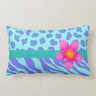 Lavender & Turquoise Zebra & Cheetah Pink Flower Pillow
