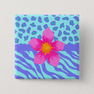 Lavender & Turquoise Zebra & Cheetah Pink Flower Pinback Button