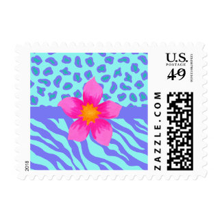 Lavender & Turquoise Zebra & Cheetah Pink Flower Postage
