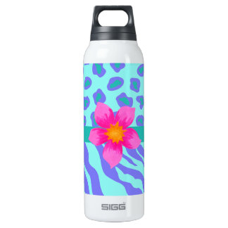 Lavender & Turquoise Zebra & Cheetah Pink Flower 16 Oz Insulated SIGG Thermos Water Bottle