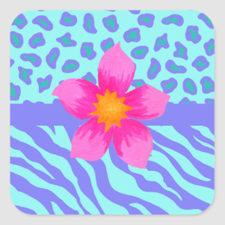 Lavender & Turquoise Zebra & Cheetah Pink Flower Square Sticker