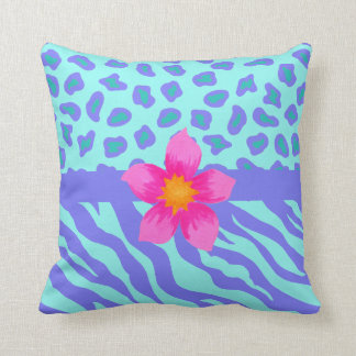 Lavender & Turquoise Zebra & Cheetah Pink Flower Throw Pillow