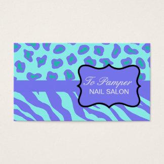 Lavender & Turquoise Zebra & Cheetah Skin Custom Business Card