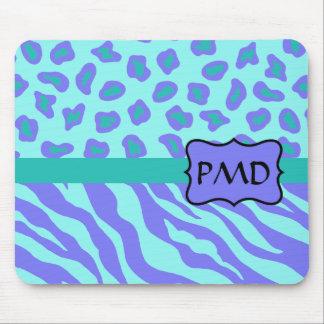 Lavender & Turquoise Zebra & Cheetah Skin Custom Mouse Pad