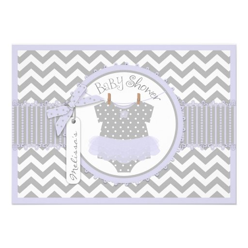 Lavender Tutu and Chevron Print Baby Shower A7LVGY Announcement