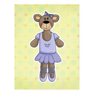 Lavender Tutu Ballerina Bear Postcard