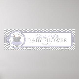 Lavender Tutu & Chevron Print Baby Shower Banner