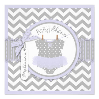 Lavender Tutu Chevron Print Baby Shower Custom Invites