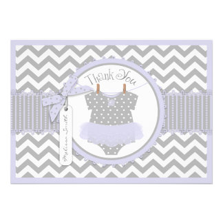 Lavender Tutu Chevron Print Thank You Card