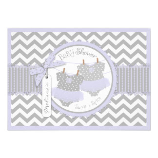 Lavender Tutu Chevron Print Twins Baby Shower Personalized Invites