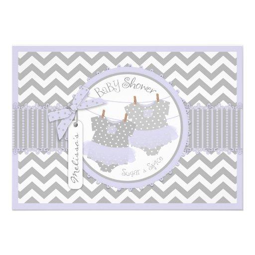 Lavender Tutu & Chevron Print Twins Baby Shower Personalized Invites
