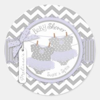 Lavender Tutu & Chevron Print Twins Baby Shower Round Stickers