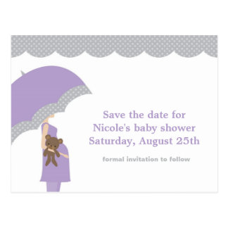 Lavender Umbrella Baby Shower Save the Date Postcard