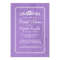 Lavender Vintage Barn Wood Bridal Shower Invites