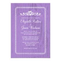"""Lavender Vintage Barn Wood Wedding Invitations 5"""" X 7"""" Invitation Card"""