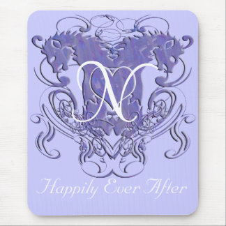 Lavender Vintage Lions with Swirls Monogram Mouse Pad