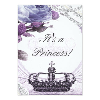 "Lavender Vintage Princess Baby Shower Invitation 5"" X 7"" Invitation Card"