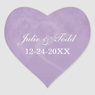Lavender Vintage Save The Date Heart Stickers