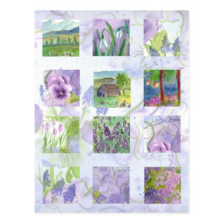 Lavender Watercolor Field of Flowers Meadow Tulip Postcard