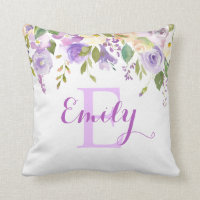 Lavender Watercolor Floral Girl Nursery Baby Throw Pillow