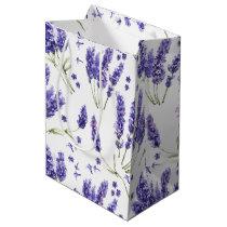 Lavender Watercolor Flowers Pattern Medium Gift Bag