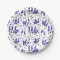 Lavender Watercolor Flowers Pattern Paper Plate