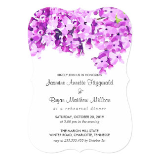 Lavender Watercolor Flowers Rehearsal Dinner Card