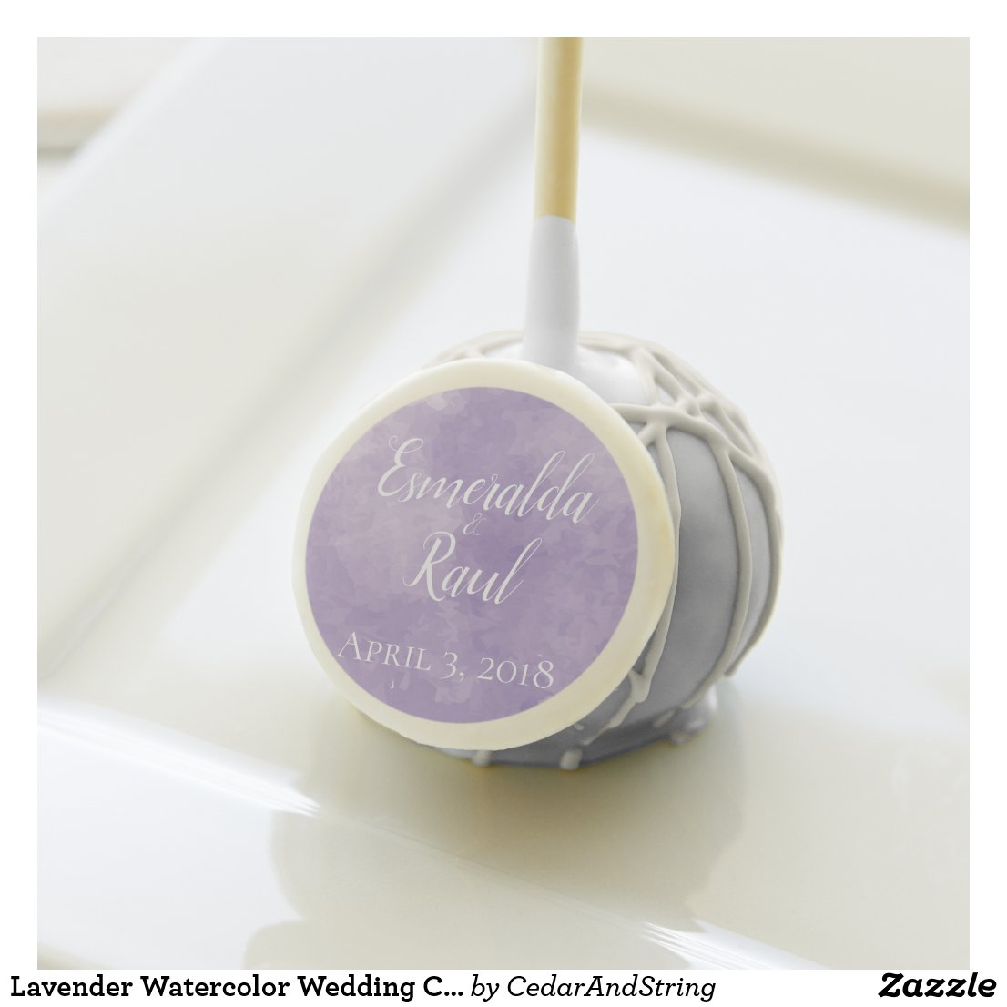 Lavender Watercolor Wedding Cake Pop