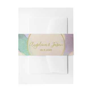 Lavender Watercolor Wedding Invitation Belly Band