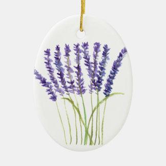 Lavender watercolour painting, purple flowers ceramic ornament