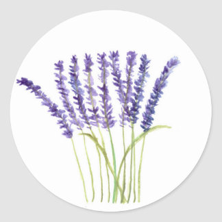 Lavender watercolour painting, purple flowers classic round sticker
