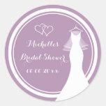 Lavender wedding dress bridal shower stickers