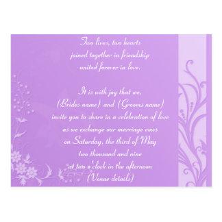 Lavender wedding inviation postcard