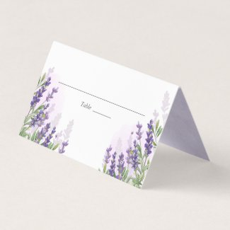 Lavender Wedding Place Card Rustic Pastel Purple