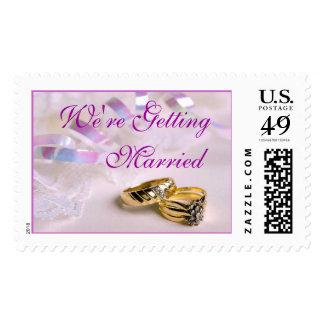 Lavender Wedding Rings (5), We're Getting, Married Postage