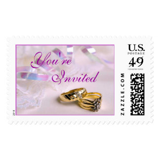 Lavender Wedding Rings (5), You're, Invited Postage